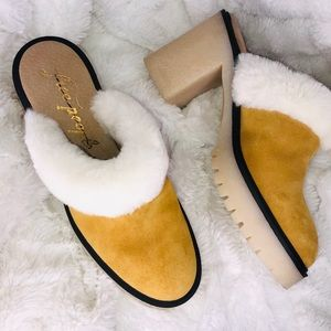 Free People Suede Mustard Clogs